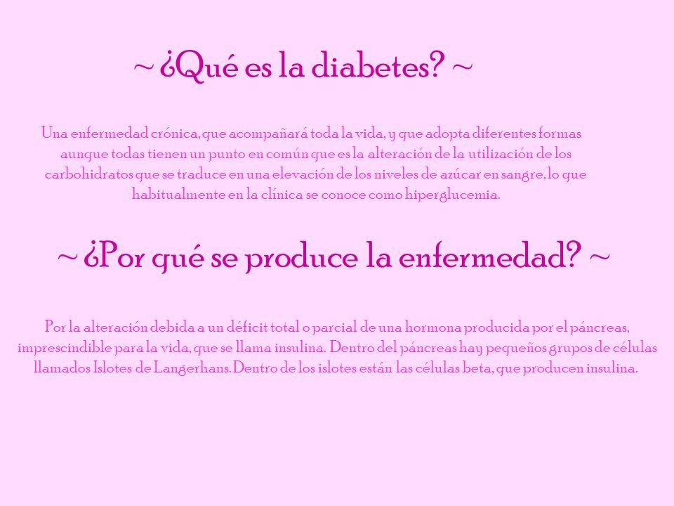 ~ ¿Qué es la diabetes? ~ Una enfermedad crónica, que acompañará toda la vida, y que adopta diferentes formas aunque todas tienen un punto en común que