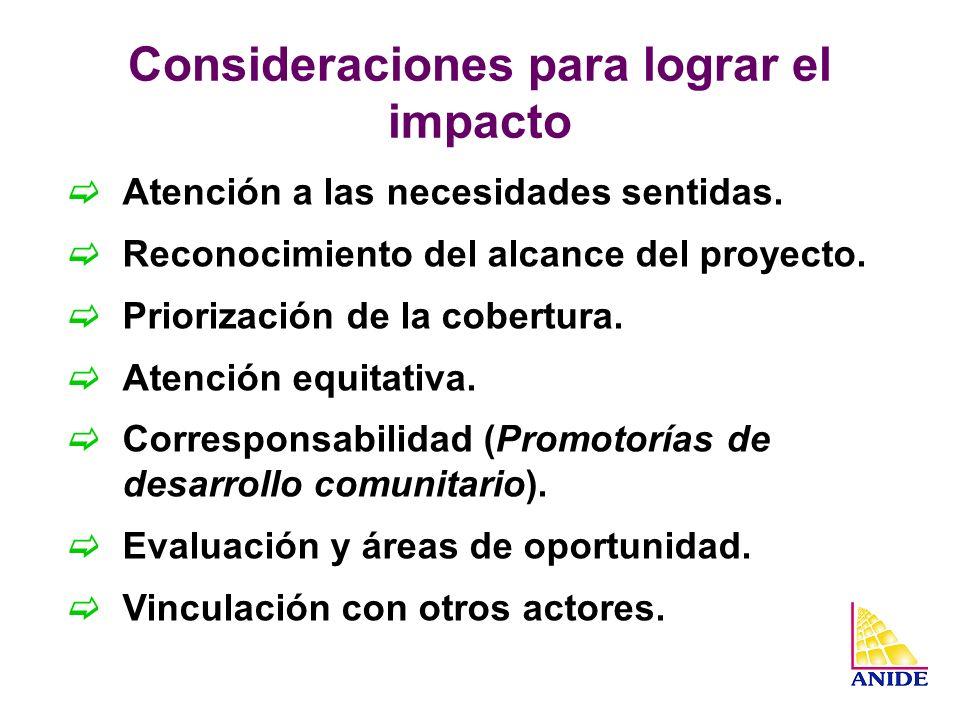 Consideraciones para lograr el impacto Atención a las necesidades sentidas. Reconocimiento del alcance del proyecto. Priorización de la cobertura. Ate