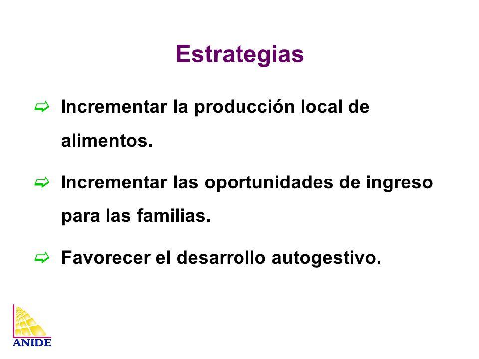 Estrategias Incrementar la producción local de alimentos. Incrementar las oportunidades de ingreso para las familias. Favorecer el desarrollo autogest