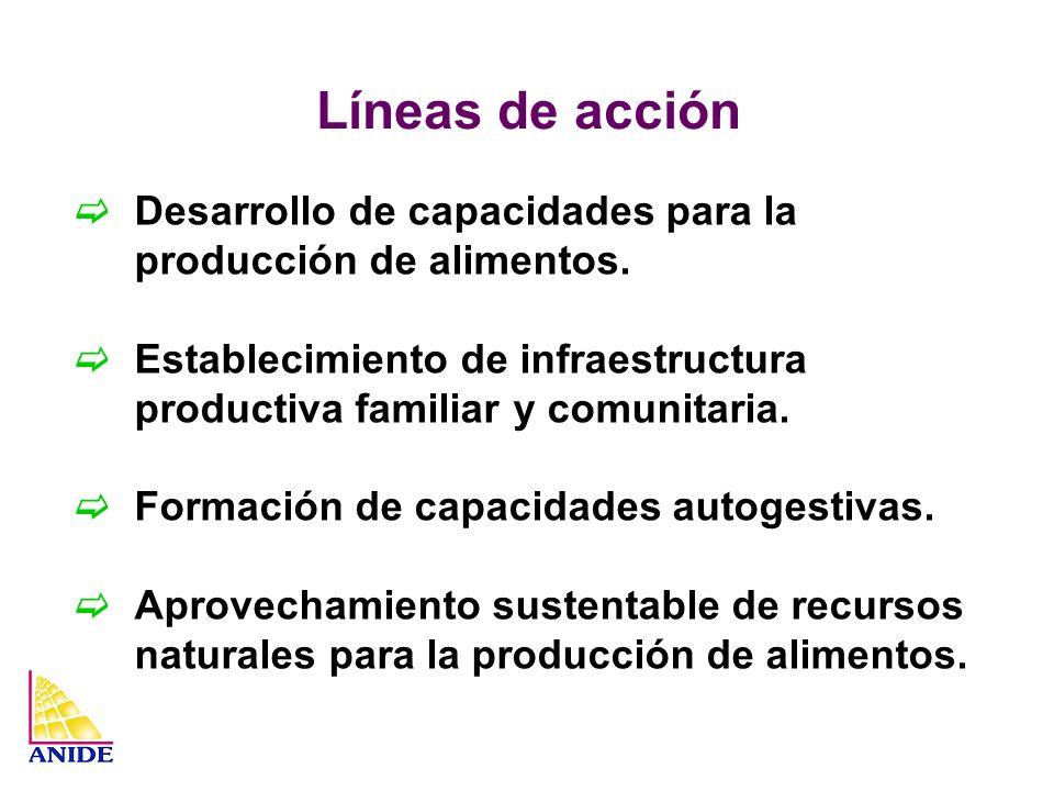 Líneas de acción Desarrollo de capacidades para la producción de alimentos. Establecimiento de infraestructura productiva familiar y comunitaria. Form