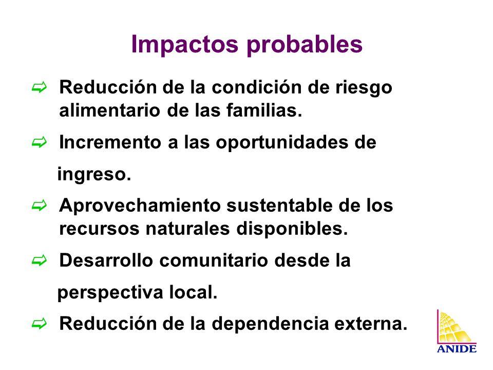 Impactos probables Reducción de la condición de riesgo alimentario de las familias. Incremento a las oportunidades de ingreso. Aprovechamiento sustent