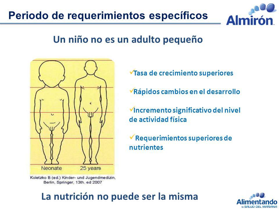 Tasa de crecimiento superiores Rápidos cambios en el desarrollo Incremento significativo del nivel de actividad física Requerimientos superiores de nutrientes Periodo de requerimientos específicos Un niño no es un adulto pequeño La nutrición no puede ser la misma