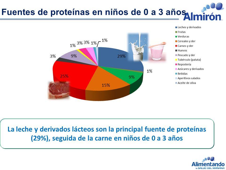 La leche y derivados lácteos son la principal fuente de proteínas (29%), seguida de la carne en niños de 0 a 3 años Fuentes de proteínas en niños de 0 a 3 años