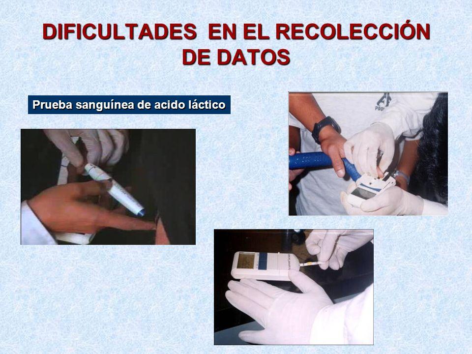 DIFICULTADES EN EL RECOLECCIÓN DE DATOS Prueba sanguínea de acido láctico