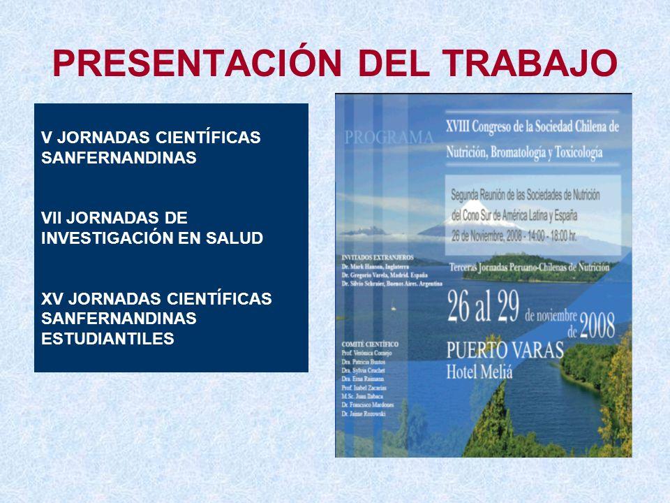 PRESENTACIÓN DEL TRABAJO V JORNADAS CIENTÍFICAS SANFERNANDINAS VII JORNADAS DE INVESTIGACIÓN EN SALUD XV JORNADAS CIENTÍFICAS SANFERNANDINAS ESTUDIANT