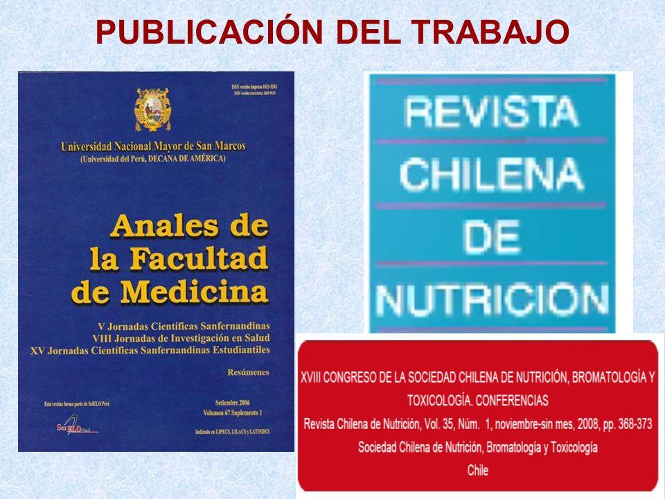 PUBLICACIÓN DEL TRABAJO Volumen 35 Suplemento N°1