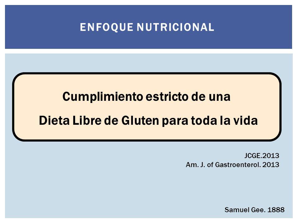 Si la enfermedad puede ser curada debe serlo a traves de la dieta Cumplimiento estricto de una Dieta Libre de Gluten para toda la vida Samuel Gee.