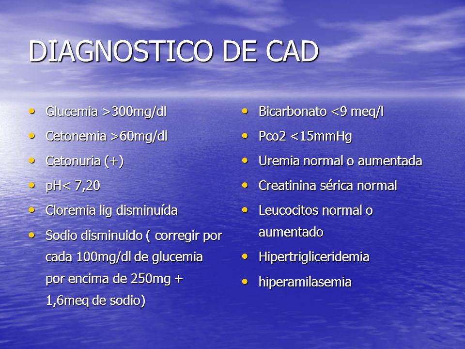DIAGNOSTICO DE CAD Glucemia >300mg/dl Glucemia >300mg/dl Cetonemia >60mg/dl Cetonemia >60mg/dl Cetonuria (+) Cetonuria (+) pH< 7,20 pH< 7,20 Cloremia lig disminuída Cloremia lig disminuída Sodio disminuido ( corregir por cada 100mg/dl de glucemia por encima de 250mg + 1,6meq de sodio) Sodio disminuido ( corregir por cada 100mg/dl de glucemia por encima de 250mg + 1,6meq de sodio) Bicarbonato <9 meq/l Bicarbonato <9 meq/l Pco2 <15mmHg Pco2 <15mmHg Uremia normal o aumentada Uremia normal o aumentada Creatinina sérica normal Creatinina sérica normal Leucocitos normal o aumentado Leucocitos normal o aumentado Hipertrigliceridemia Hipertrigliceridemia hiperamilasemia hiperamilasemia