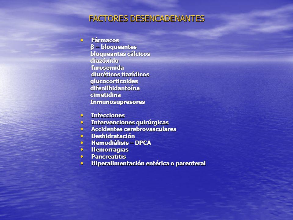 FACTORES DESENCADENANTES Fármacos Fármacos β – bloqueantes β – bloqueantes bloqueantes cálcicos bloqueantes cálcicos diazóxido diazóxidofurosemida diuréticos tiazídicos glucocorticoides glucocorticoides difenilhidantoína difenilhidantoína cimetidina cimetidina Inmunosupresores Inmunosupresores Infecciones Infecciones Intervenciones quirúrgicas Intervenciones quirúrgicas Accidentes cerebrovasculares Accidentes cerebrovasculares Deshidratación Deshidratación Hemodiálisis – DPCA Hemodiálisis – DPCA Hemorragias Hemorragias Pancreatitis Pancreatitis Hiperalimentación entérica o parenteral Hiperalimentación entérica o parenteral