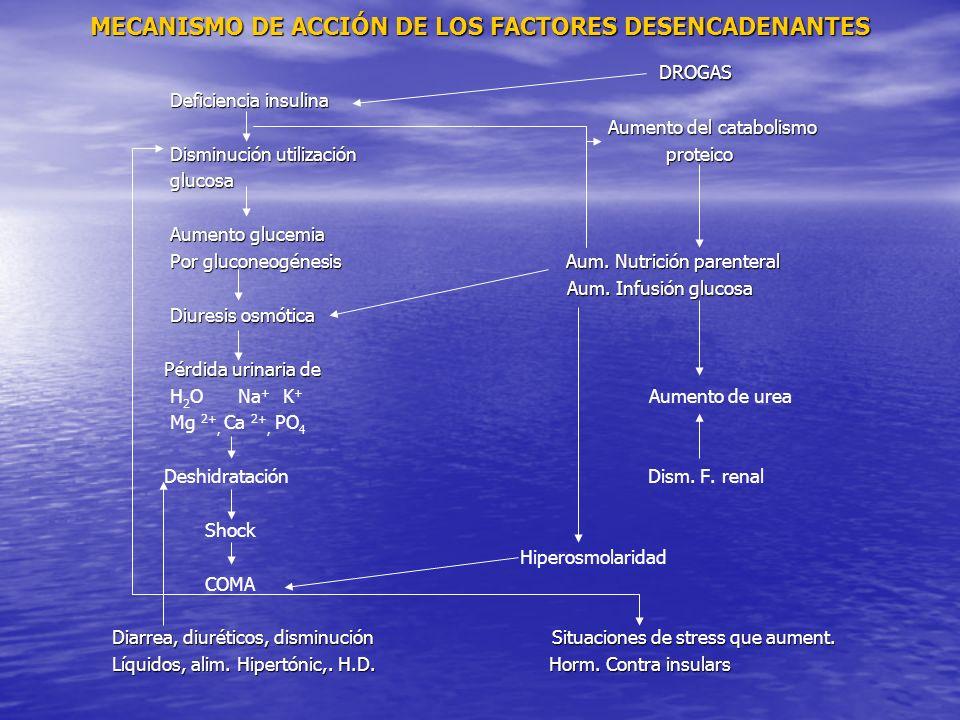 MECANISMO DE ACCIÓN DE LOS FACTORES DESENCADENANTES DROGAS DROGAS Deficiencia insulina Deficiencia insulina Aumento del catabolismo Aumento del catabolismo Disminución utilización proteico Disminución utilización proteico glucosa glucosa Aumento glucemia Aumento glucemia Por gluconeogénesis Aum.