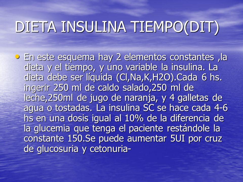 DIETA INSULINA TIEMPO(DIT) En este esquema hay 2 elementos constantes,la dieta y el tiempo, y uno variable la insulina. La dieta debe ser líquida (Cl,