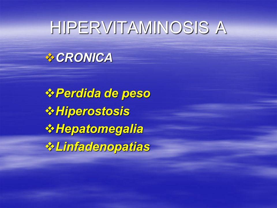 HIPERVITAMINOSIS A CRONICA CRONICA Perdida de peso Perdida de peso Hiperostosis Hiperostosis Hepatomegalia Hepatomegalia Linfadenopatias Linfadenopati