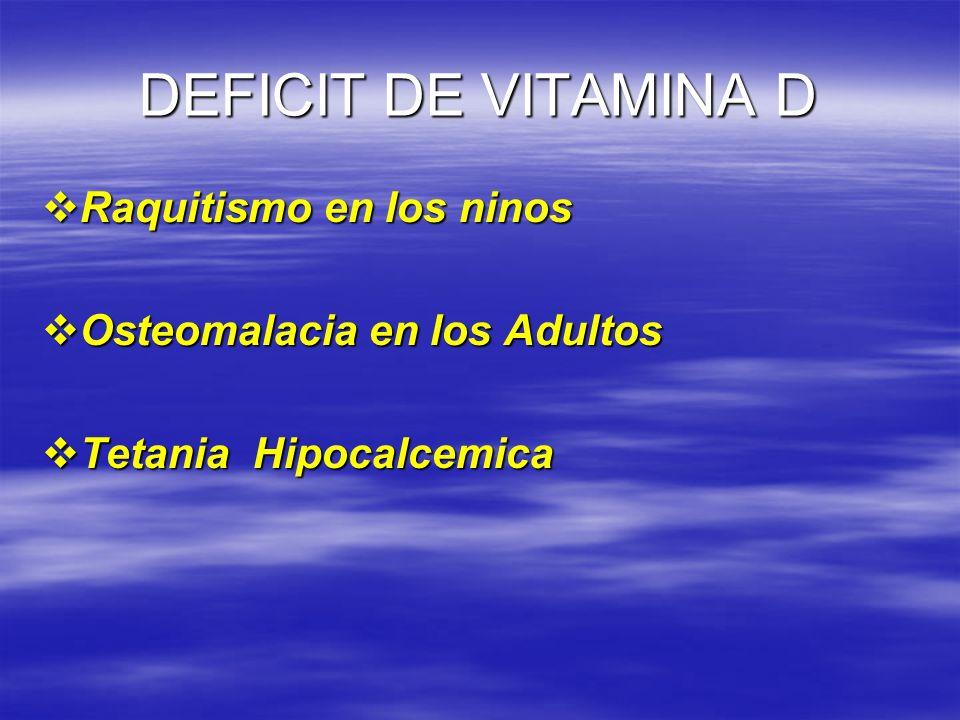 DEFICIT DE VITAMINA D Raquitismo en los ninos Raquitismo en los ninos Osteomalacia en los Adultos Osteomalacia en los Adultos Tetania Hipocalcemica Te