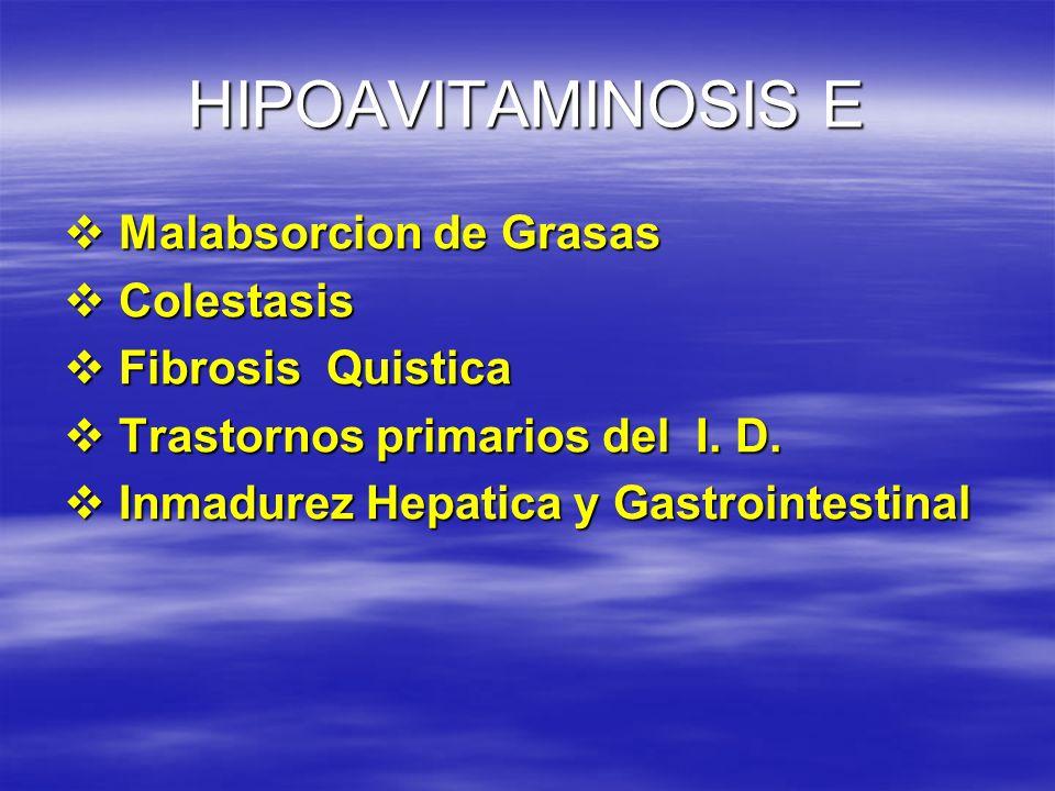 HIPOAVITAMINOSIS E Malabsorcion de Grasas Malabsorcion de Grasas Colestasis Colestasis Fibrosis Quistica Fibrosis Quistica Trastornos primarios del I.