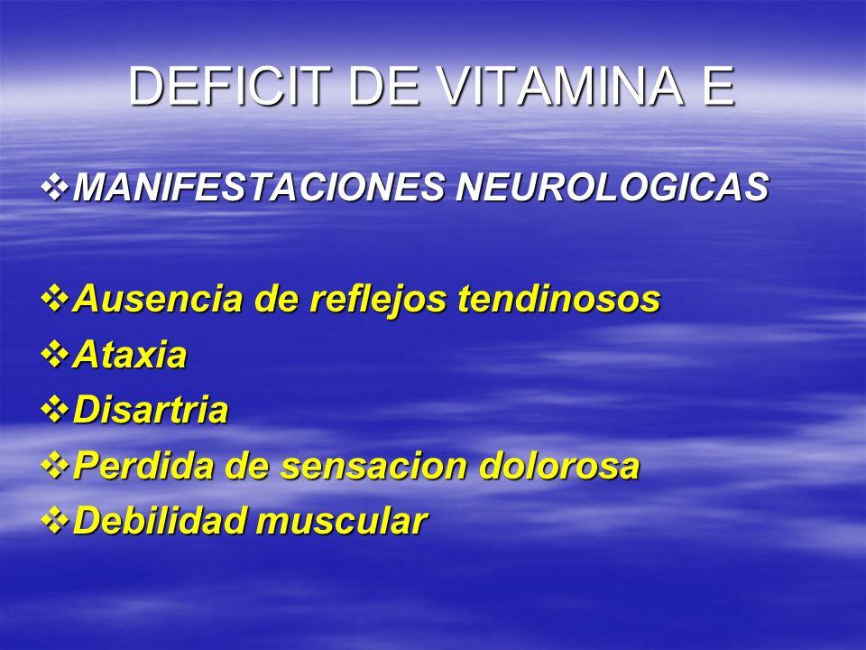 DEFICIT DE VITAMINA E MANIFESTACIONES NEUROLOGICAS MANIFESTACIONES NEUROLOGICAS Ausencia de reflejos tendinosos Ausencia de reflejos tendinosos Ataxia