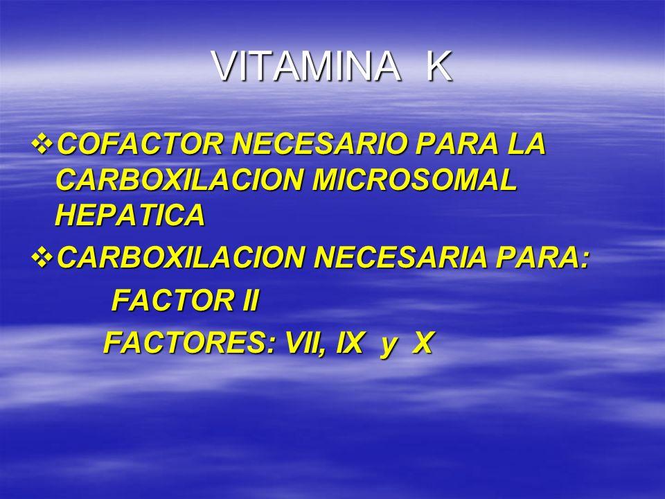VITAMINA K COFACTOR NECESARIO PARA LA CARBOXILACION MICROSOMAL HEPATICA COFACTOR NECESARIO PARA LA CARBOXILACION MICROSOMAL HEPATICA CARBOXILACION NEC