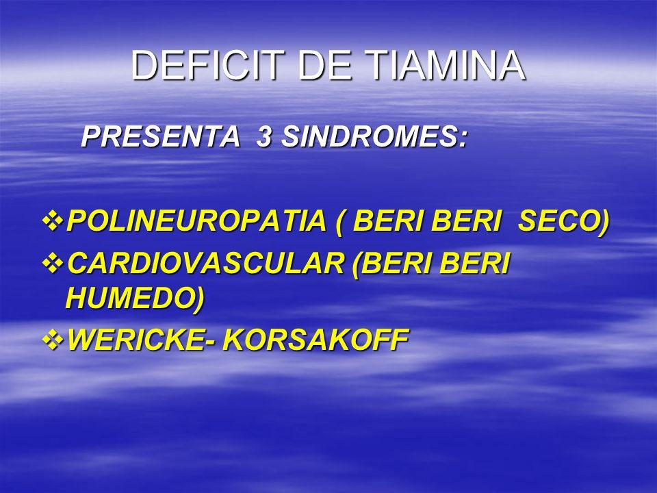 DEFICIT DE TIAMINA PRESENTA 3 SINDROMES: PRESENTA 3 SINDROMES: POLINEUROPATIA ( BERI BERI SECO) POLINEUROPATIA ( BERI BERI SECO) CARDIOVASCULAR (BERI