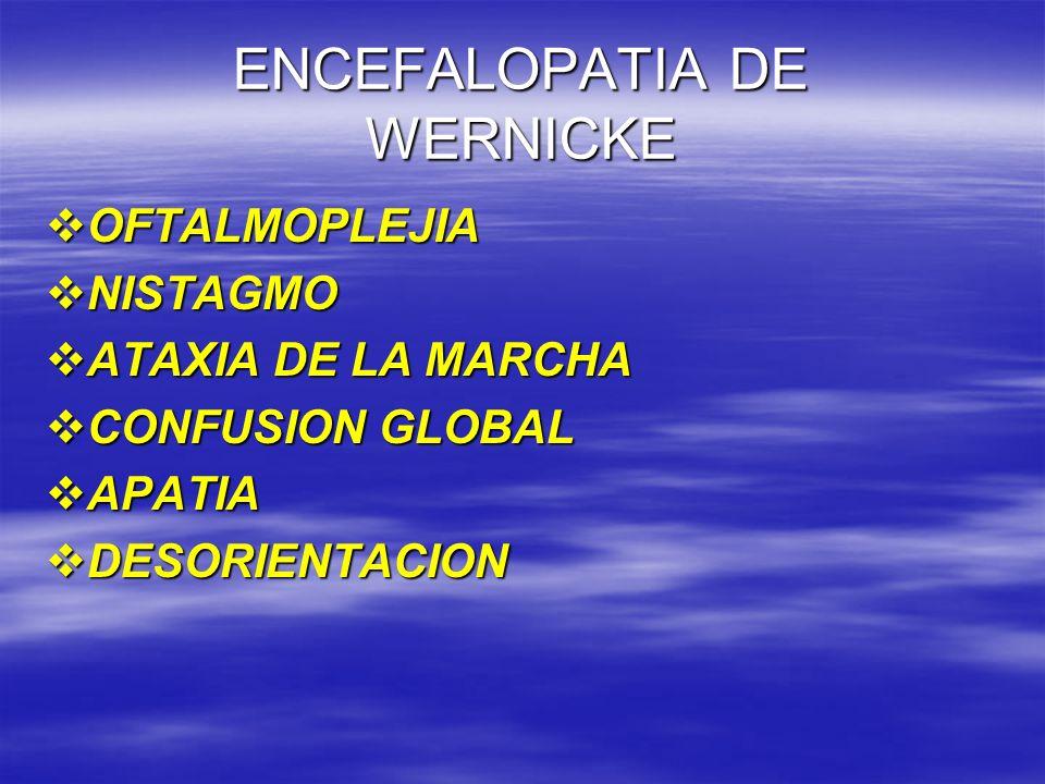 ENCEFALOPATIA DE WERNICKE OFTALMOPLEJIA OFTALMOPLEJIA NISTAGMO NISTAGMO ATAXIA DE LA MARCHA ATAXIA DE LA MARCHA CONFUSION GLOBAL CONFUSION GLOBAL APAT