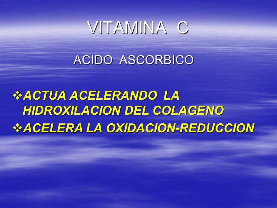 VITAMINA C ACIDO ASCORBICO ACIDO ASCORBICO ACTUA ACELERANDO LA HIDROXILACION DEL COLAGENO ACTUA ACELERANDO LA HIDROXILACION DEL COLAGENO ACELERA LA OX