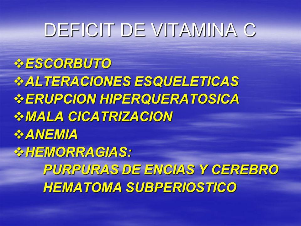 DEFICIT DE VITAMINA C ESCORBUTO ESCORBUTO ALTERACIONES ESQUELETICAS ALTERACIONES ESQUELETICAS ERUPCION HIPERQUERATOSICA ERUPCION HIPERQUERATOSICA MALA