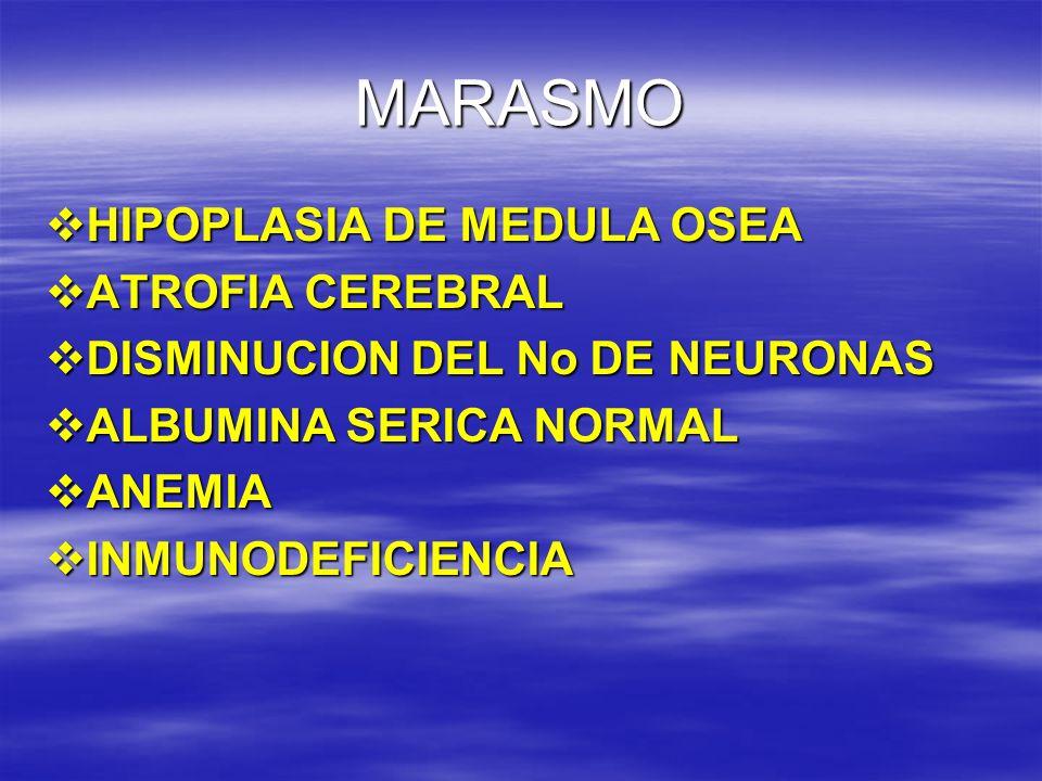 MARASMO HIPOPLASIA DE MEDULA OSEA HIPOPLASIA DE MEDULA OSEA ATROFIA CEREBRAL ATROFIA CEREBRAL DISMINUCION DEL No DE NEURONAS DISMINUCION DEL No DE NEU