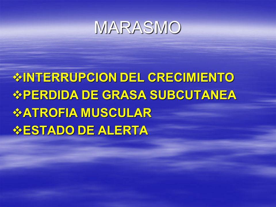 MARASMO INTERRUPCION DEL CRECIMIENTO INTERRUPCION DEL CRECIMIENTO PERDIDA DE GRASA SUBCUTANEA PERDIDA DE GRASA SUBCUTANEA ATROFIA MUSCULAR ATROFIA MUS