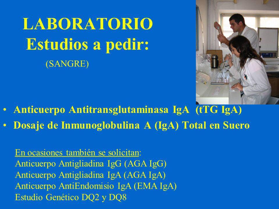 LABORATORIO Estudios a pedir: (SANGRE) Anticuerpo Antitransglutaminasa IgA (tTG IgA) Dosaje de Inmunoglobulina A (IgA) Total en Suero En ocasiones también se solicitan: Anticuerpo Antigliadina IgG (AGA IgG) Anticuerpo Antigliadina IgA (AGA IgA) Anticuerpo AntiEndomisio IgA (EMA IgA) Estudio Genético DQ2 y DQ8