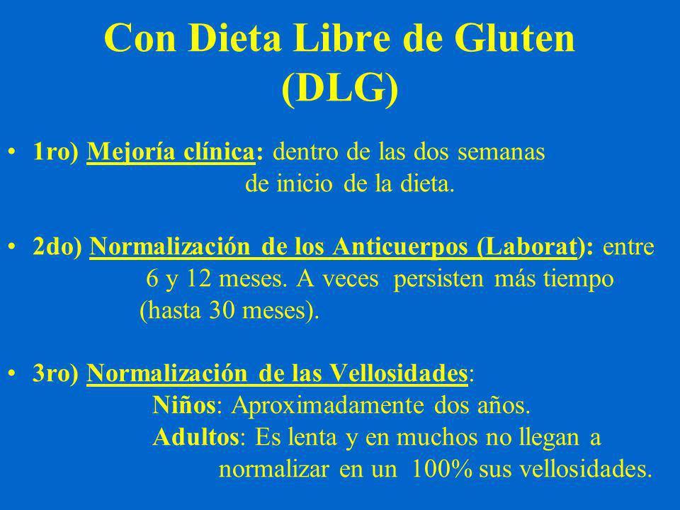 Con Dieta Libre de Gluten (DLG) 1ro) Mejoría clínica: dentro de las dos semanas de inicio de la dieta.
