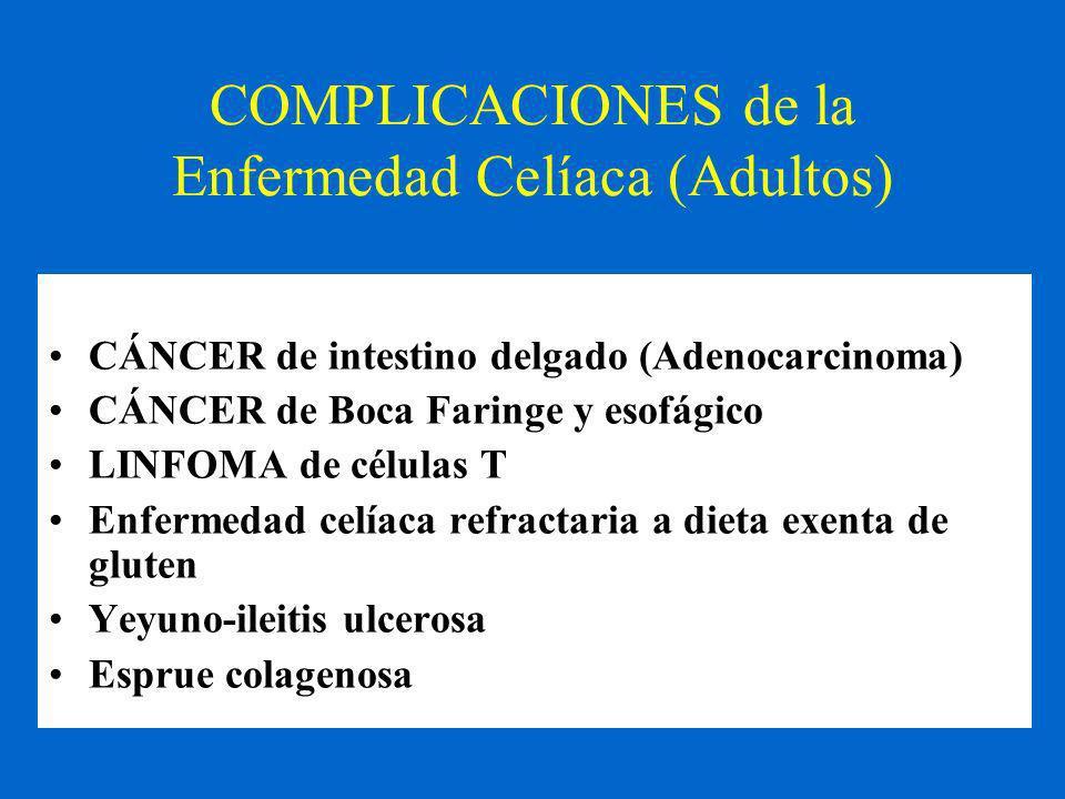 COMPLICACIONES de la Enfermedad Celíaca (Adultos) CÁNCER de intestino delgado (Adenocarcinoma) CÁNCER de Boca Faringe y esofágico LINFOMA de células T Enfermedad celíaca refractaria a dieta exenta de gluten Yeyuno-ileitis ulcerosa Esprue colagenosa
