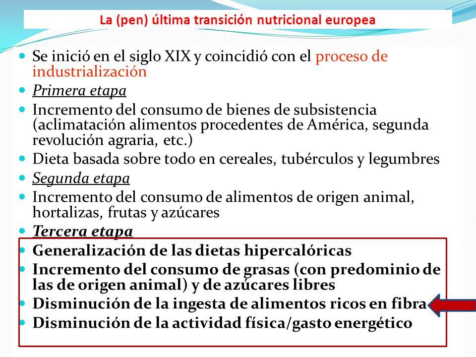La (pen) última transición nutricional europea Se inició en el siglo XIX y coincidió con el proceso de industrialización Primera etapa Incremento del