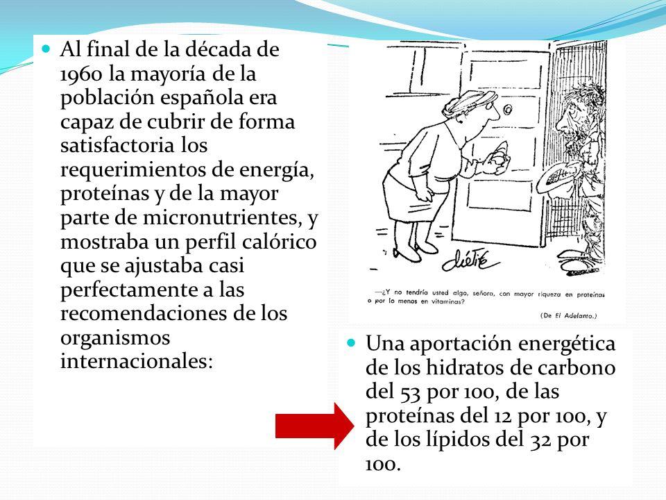 Al final de la década de 1960 la mayoría de la población española era capaz de cubrir de forma satisfactoria los requerimientos de energía, proteínas