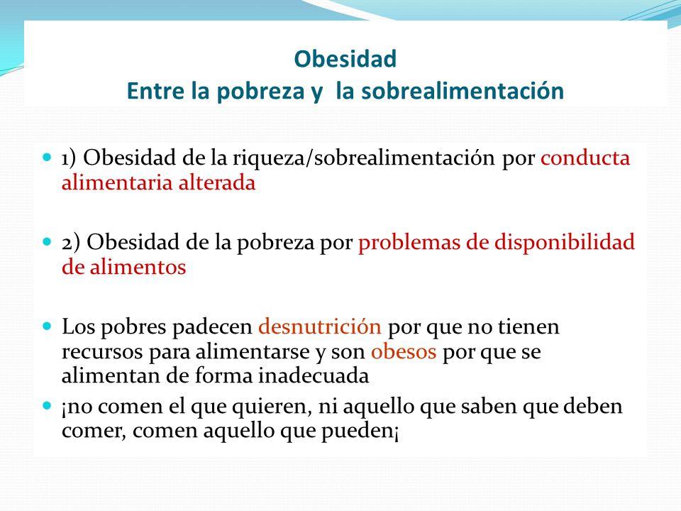 Obesidad Entre la pobreza y la sobrealimentación 1) Obesidad de la riqueza/sobrealimentación por conducta alimentaria alterada 2) Obesidad de la pobre