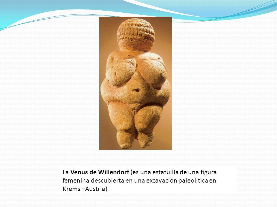 La Venus de Willendorf (es una estatuilla de una figura femenina descubierta en una excavación paleolítica en Krems –Austria)