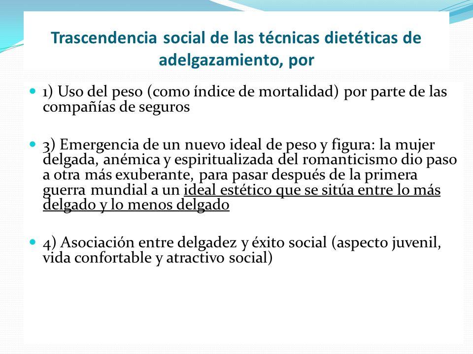 Trascendencia social de las técnicas dietéticas de adelgazamiento, por 1) Uso del peso (como índice de mortalidad) por parte de las compañías de segur
