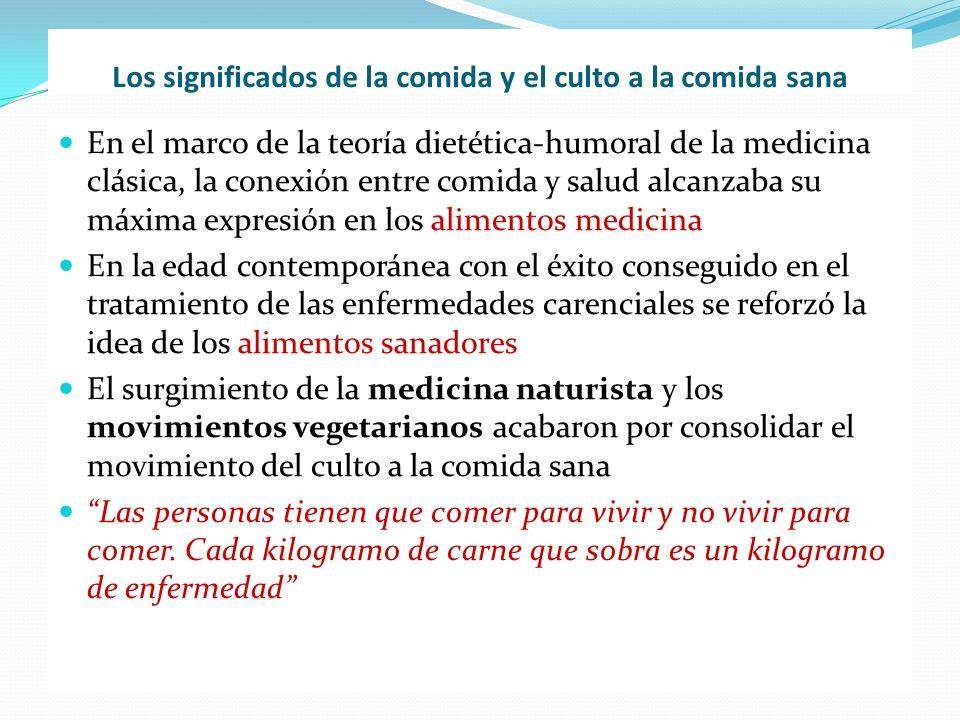 Los significados de la comida y el culto a la comida sana En el marco de la teoría dietética-humoral de la medicina clásica, la conexión entre comida