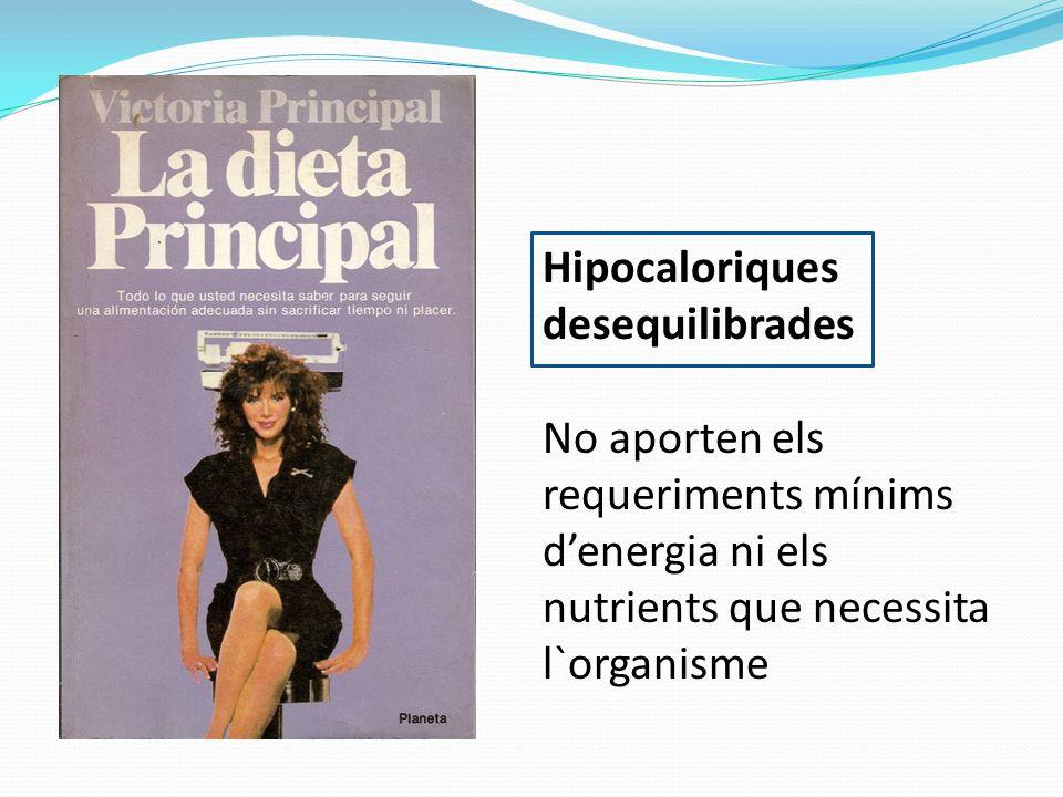 Hipocaloriques desequilibrades No aporten els requeriments mínims denergia ni els nutrients que necessita l`organisme