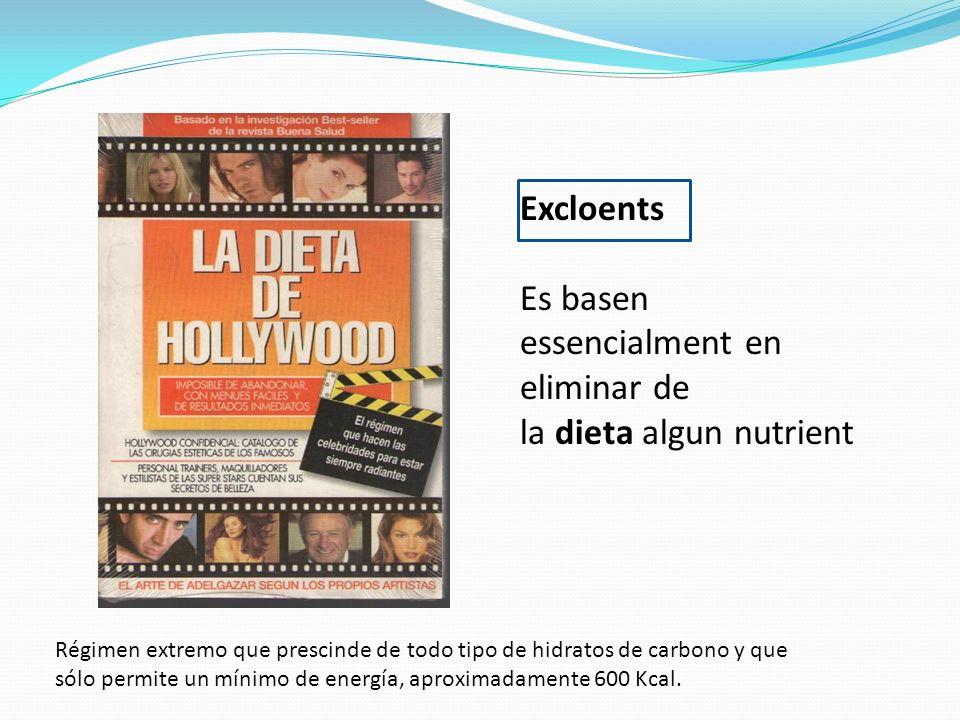 Excloents Es basen essencialment en eliminar de la dieta algun nutrient Régimen extremo que prescinde de todo tipo de hidratos de carbono y que sólo p