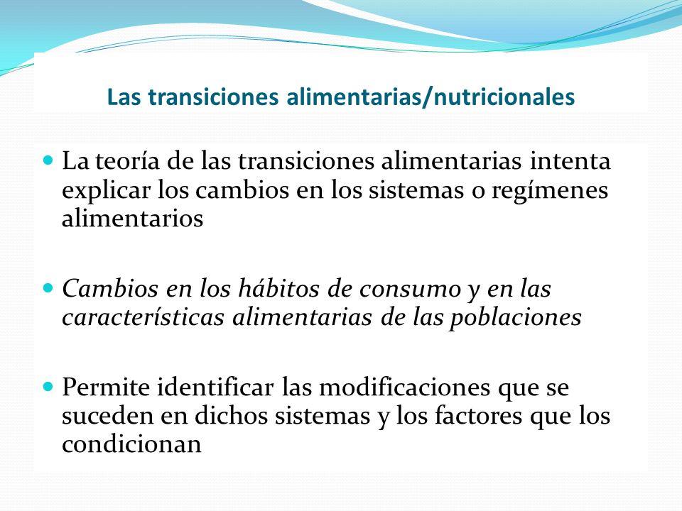 Las transiciones alimentarias/nutricionales La teoría de las transiciones alimentarias intenta explicar los cambios en los sistemas o regímenes alimen