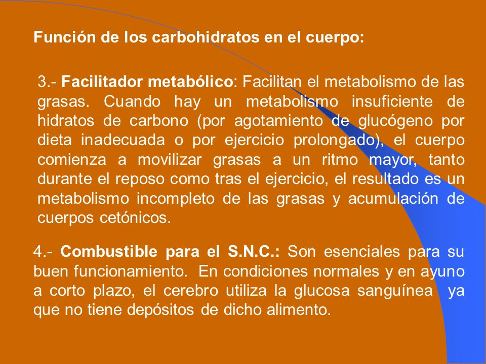 Función de los carbohidratos en el cuerpo: 3.- Facilitador metabólico: Facilitan el metabolismo de las grasas. Cuando hay un metabolismo insuficiente