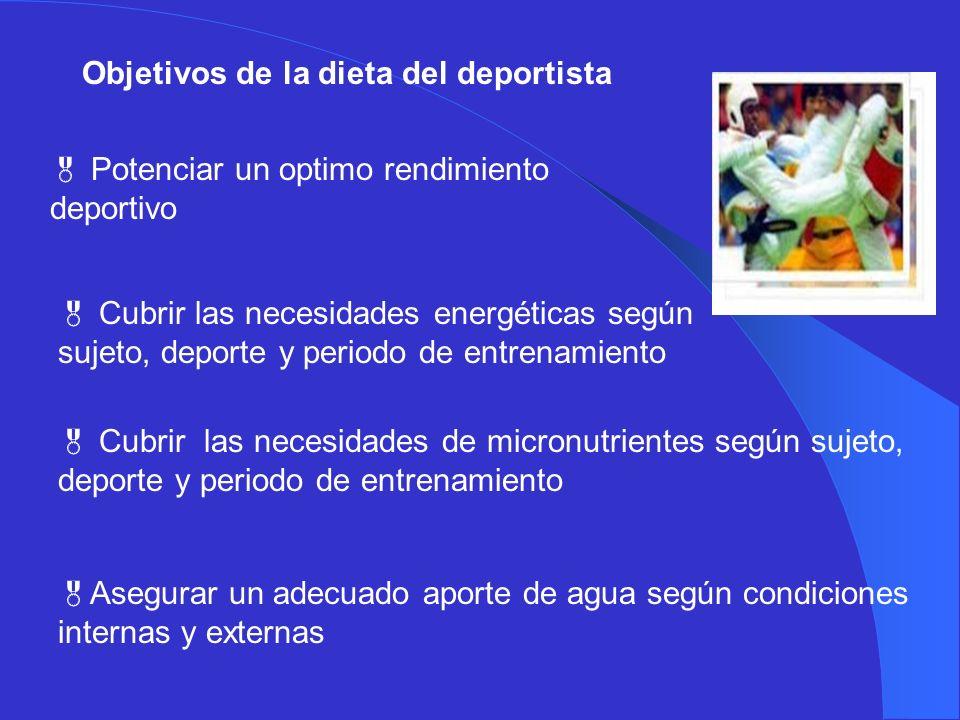 Objetivos de la dieta del deportista Potenciar un optimo rendimiento deportivo Cubrir las necesidades energéticas según sujeto, deporte y periodo de e