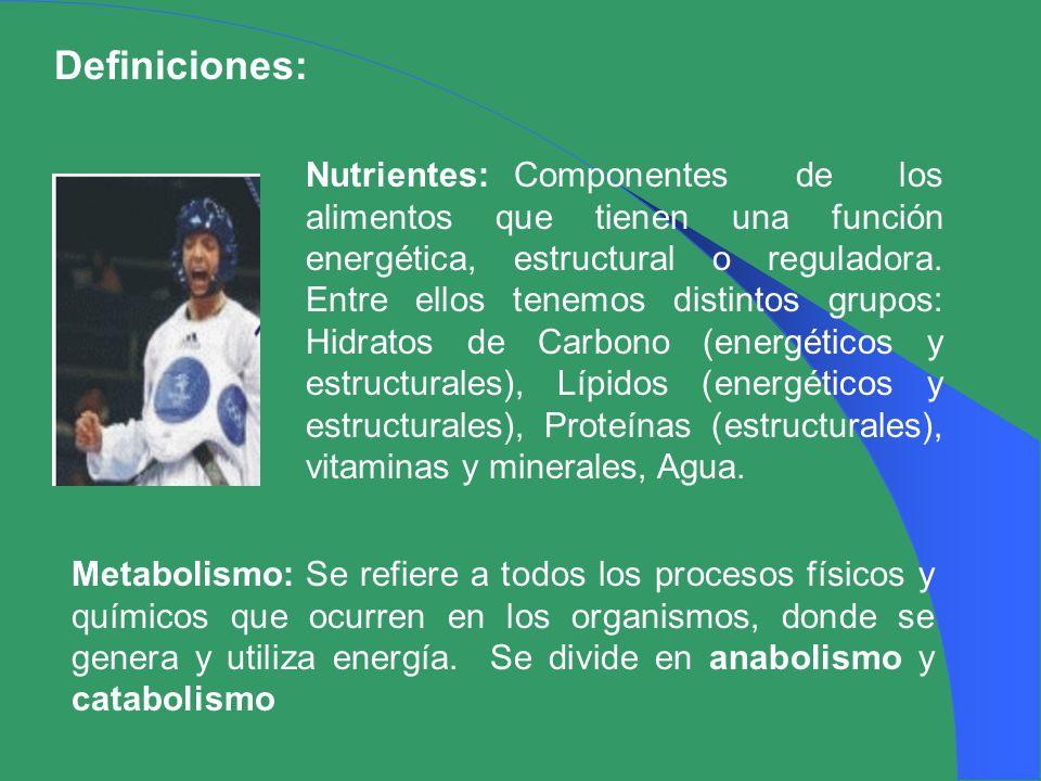 Definiciones: Nutrientes:Componentes de los alimentos que tienen una función energética, estructural o reguladora. Entre ellos tenemos distintos grupo