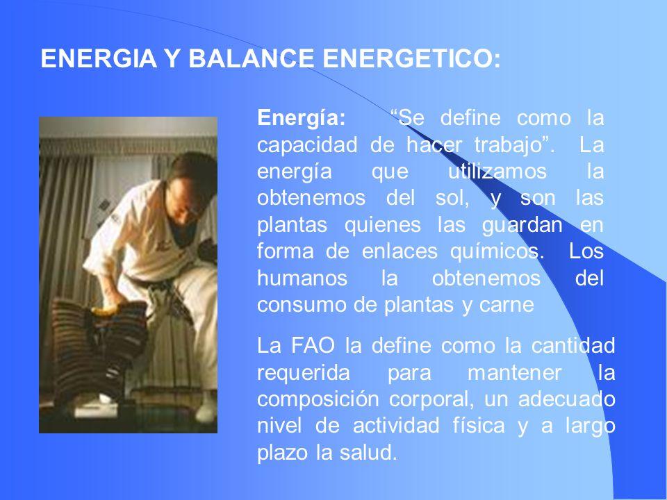 ENERGIA Y BALANCE ENERGETICO: Energía: Se define como la capacidad de hacer trabajo. La energía que utilizamos la obtenemos del sol, y son las plantas