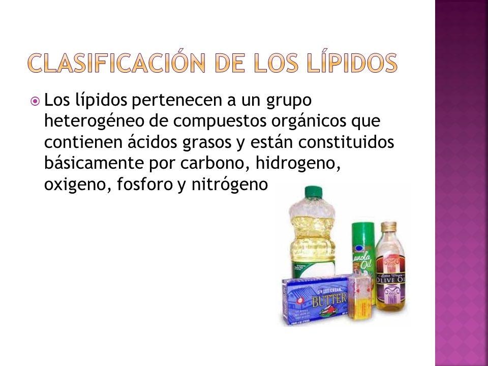 Los lípidos pertenecen a un grupo heterogéneo de compuestos orgánicos que contienen ácidos grasos y están constituidos básicamente por carbono, hidrog