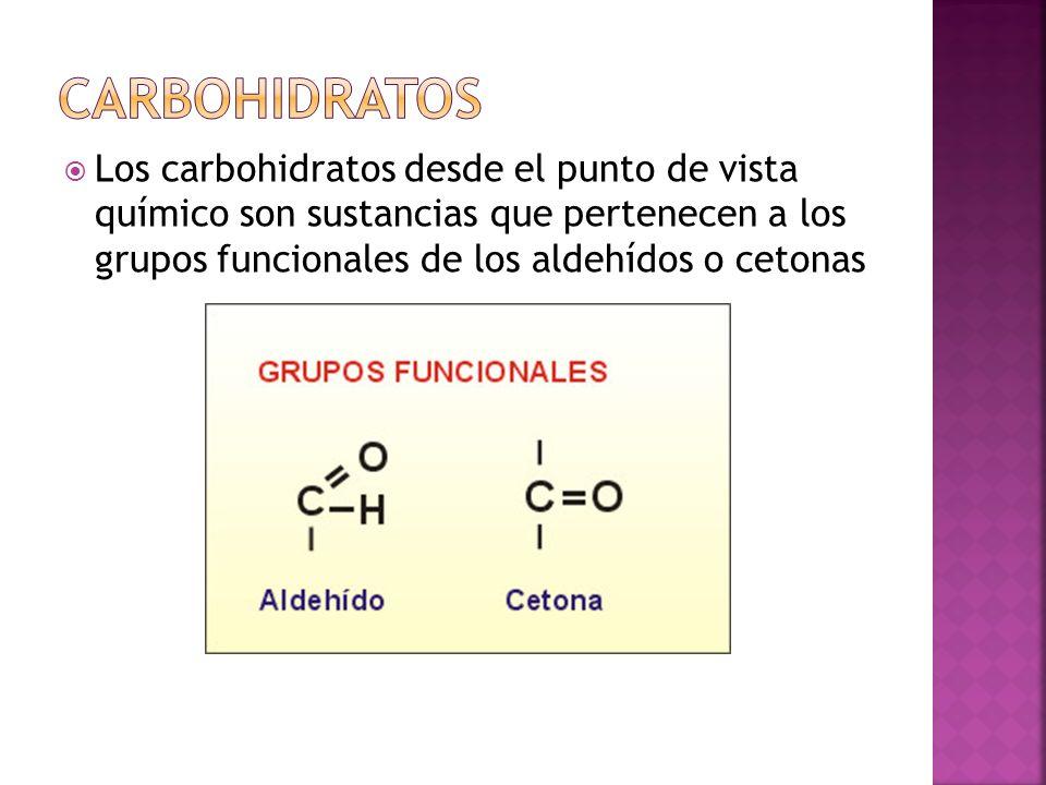Los carbohidratos desde el punto de vista químico son sustancias que pertenecen a los grupos funcionales de los aldehídos o cetonas