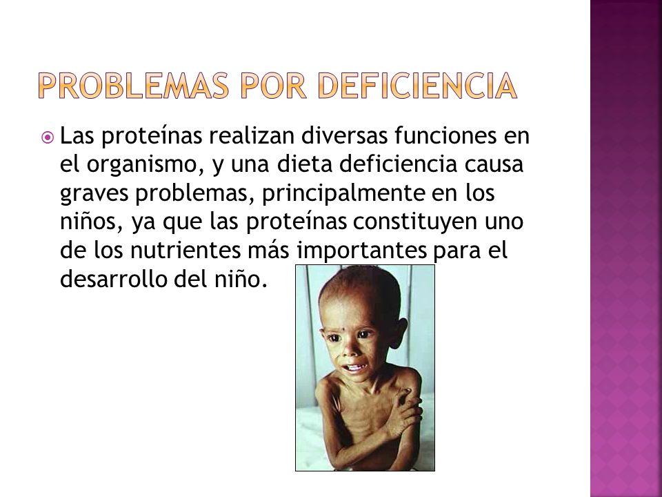 Las proteínas realizan diversas funciones en el organismo, y una dieta deficiencia causa graves problemas, principalmente en los niños, ya que las pro