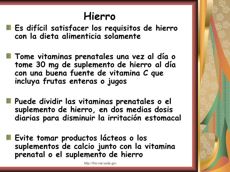 http://fnic.nal.usda.gov Hierro Es difícil satisfacer los requisitos de hierro con la dieta alimenticia solamente Tome vitaminas prenatales una vez al