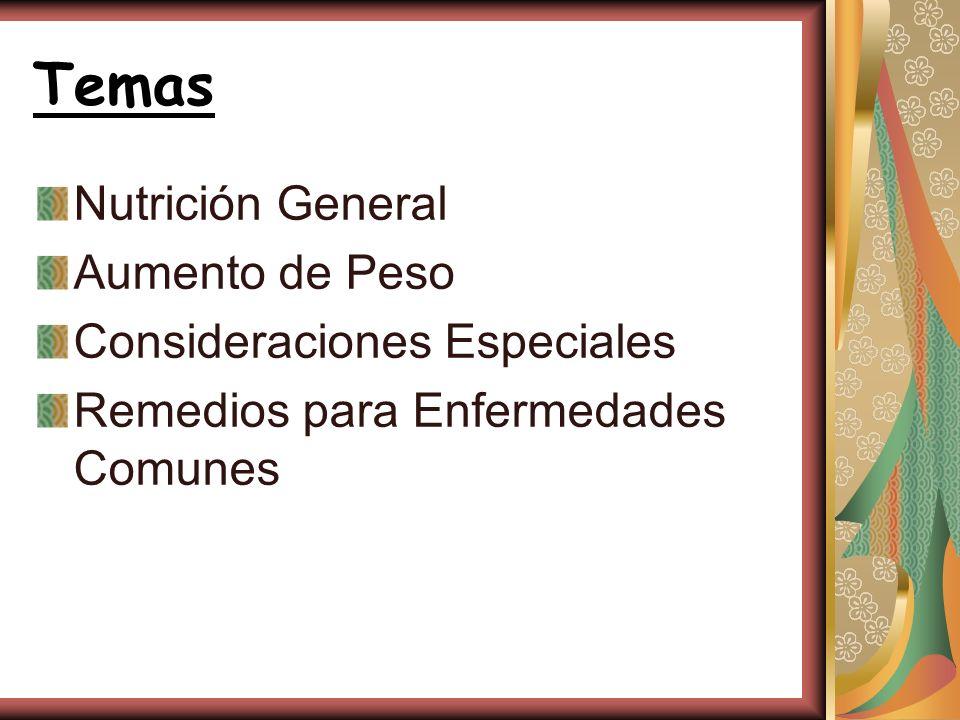 Temas Nutrición General Aumento de Peso Consideraciones Especiales Remedios para Enfermedades Comunes