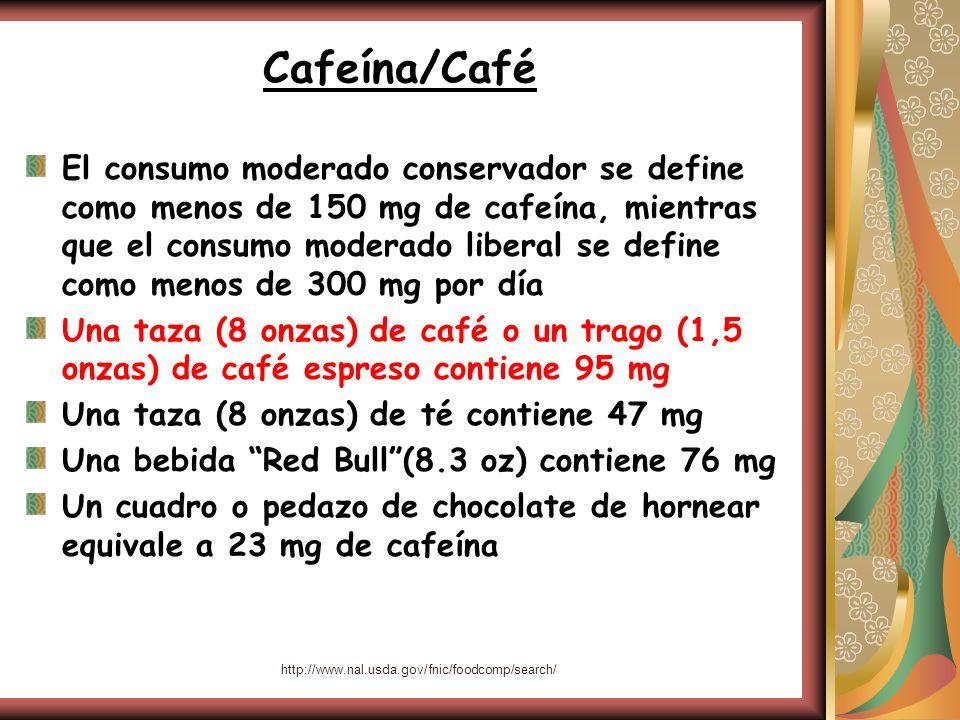 http://www.nal.usda.gov/fnic/foodcomp/search/ Cafeína/Café El consumo moderado conservador se define como menos de 150 mg de cafeína, mientras que el