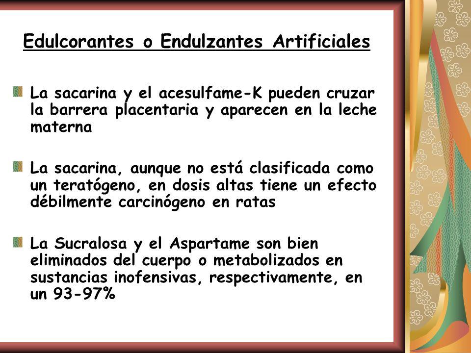 Edulcorantes o Endulzantes Artificiales La sacarina y el acesulfame-K pueden cruzar la barrera placentaria y aparecen en la leche materna La sacarina,