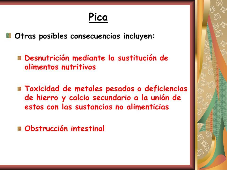 Pica Otras posibles consecuencias incluyen: Desnutrición mediante la sustitución de alimentos nutritivos Toxicidad de metales pesados o deficiencias d